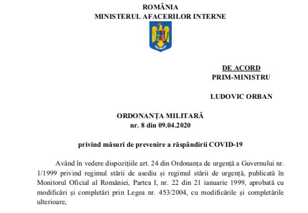 Ordonanța Militară nr. 8