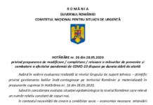 HOTĂRÂRE nr. 26 din 28.05.2020 privind relaxarea măsurilor, cu aplicabilitate de la 1 iunie 2020