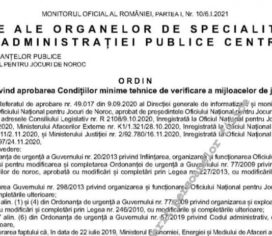 Ordinul privind aprobarea Condițiilor minime tehnice